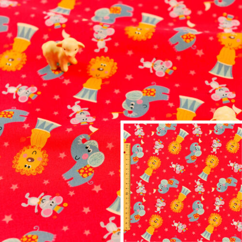Red FQFat QuarterCotton FabricAnimal Zoo Lion Circus Elephant Mouse Sew