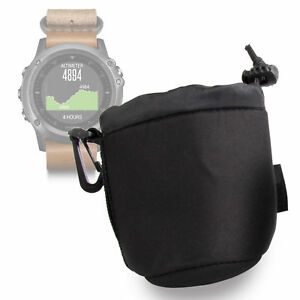 Black-Neoprene-Pouch-Case-in-Small-for-Garmin-Fenix-3-Titanium-Nylon-Leather