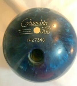 Columbia-Bowling-Ball-White-Dot-300-Vintage-15lb-Drilled-Used-Blue-Swirl-Games