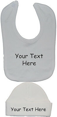 Personalised Design Your Own Wording Feeding Bib /& Beanie Hat//Cap Newborn to 12m