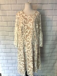 Details About Nwt Jessica Howard Lace Dress Sz 18w Nude Ivory Bell Sleeve Bridal Sheath 109