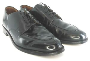 Cole-Haan-City-Calhoun-Oxford-Men-039-s-Sz-10-B-Black-Leather-Split-Toe-Lace-Up-Shoe