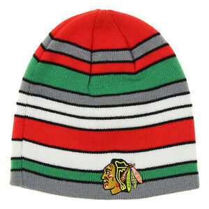 Reebok-NHL-Youth-Chicago-Blackhawks-Hawks-Faceoff-Stripe-Knit-Beanie-OSFM