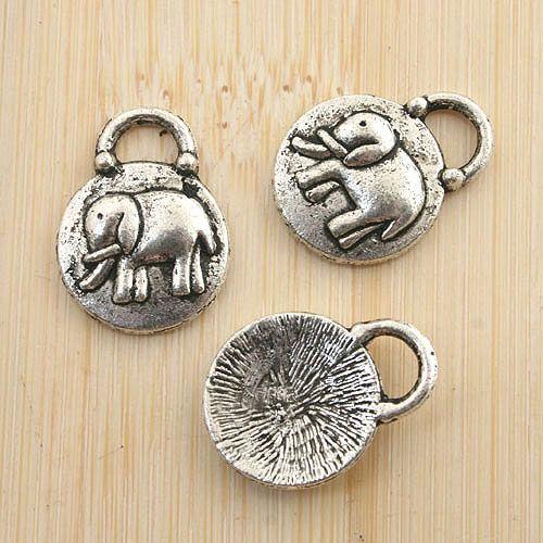 12pcs antiqued silver elephant pendant charm G1241
