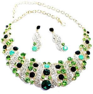 Green-Rhinestone-Crystal-Choker-Necklace-Earrings