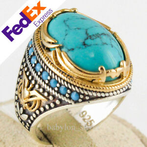 925 Sterling Silver Turkish Jewelry Authentic Multi Turquoise Stone Mens Ring