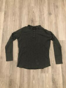 Wings-Horns-Long-Sleeve-Henley-Dark-Gray-Size-XL-Men-039-s