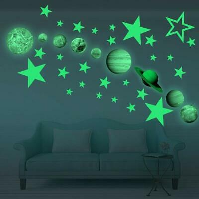 3d Glow In The Dark Planet Star Stickers Wall Decals For Kids Room Wall Ceiling Ebay