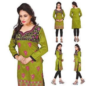 Women Fashion Indian Short GREEN EMBROIDERY Kurti Tunic Kurta Top Shirt Dress
