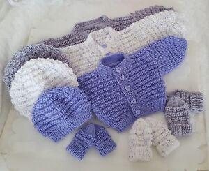 Knitting-Pattern-70-TO-KNIT-Baby-Cardigan-Hat-Mittens-Boys-Girls-Reborn-Dolls