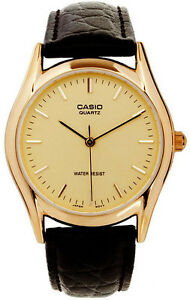 Casio-MTP-1094Q-9A-Analog-Men-039-s-Watch-Leather-Band-Brown-Gold-Face-Quartz-New