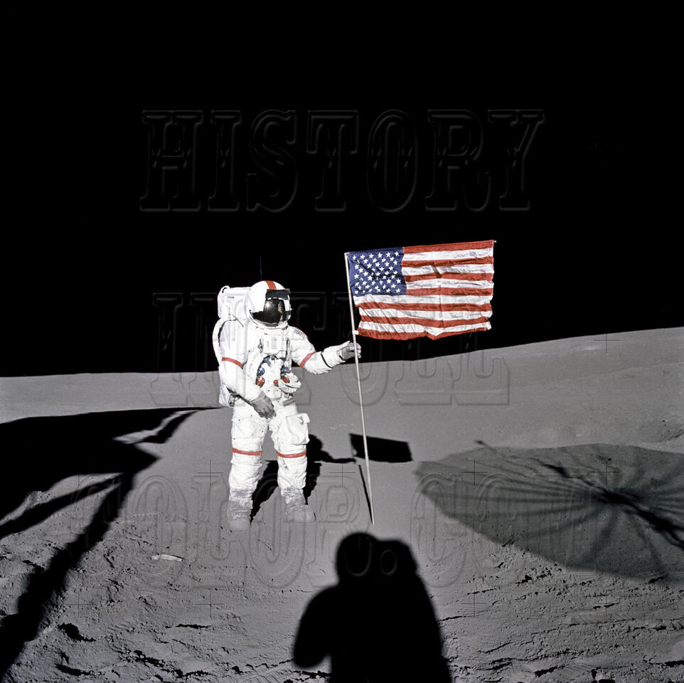 Astronaut Alan Shepard Flag Moon Landing Apollo 14 Lunar Photo - GPN-2000-001120