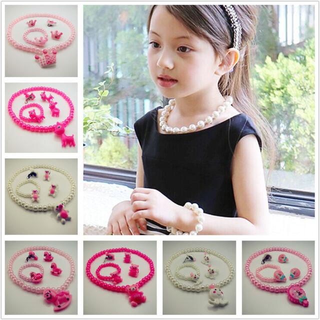 Free 10 Lovely princess Style Child Girls 1Set Rings Earrings Bracelet Necklace