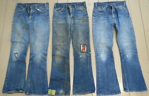 Vintage Levi blue jeans 1970s Big E lot of 3 with old keep on trucking patch
