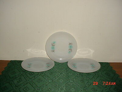 """3-PC FIRE KING MILK GLASS 6"""" SAUCERS/WHITE-BLUE FLOWERS/USA/STAMPED/FREE SHIP!"""