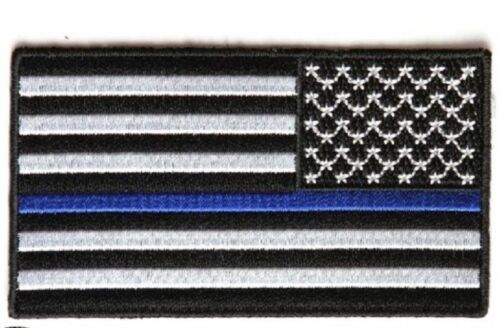 "4452 B37 Police Reversed THIN BLUE LINE AMERICAN FLAG 3.5/"" x 2 iron on patch"