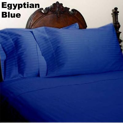 Comfort Sheet Collection 100/% Cotton 1000 TC Select US Size Egyptian Blue Stripe