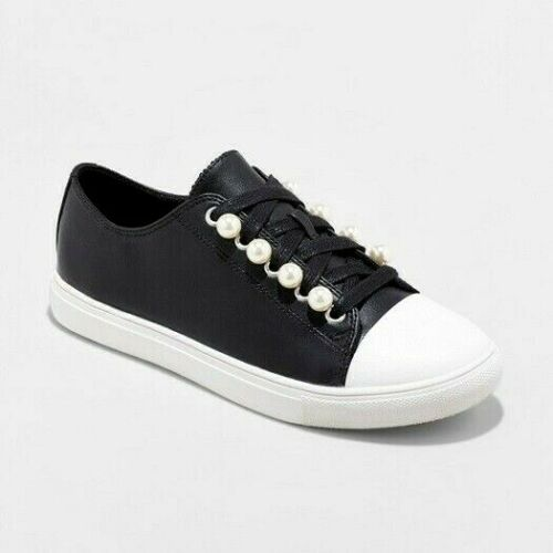 Womens Mossimo Supply Kyrie Black Leather Pearl Sneakers NWOB D79