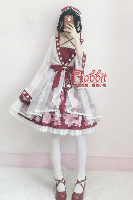 Vintage Japanese Lolita Sweet Goldfish Printing Long Sleeve Dress Mori Girl