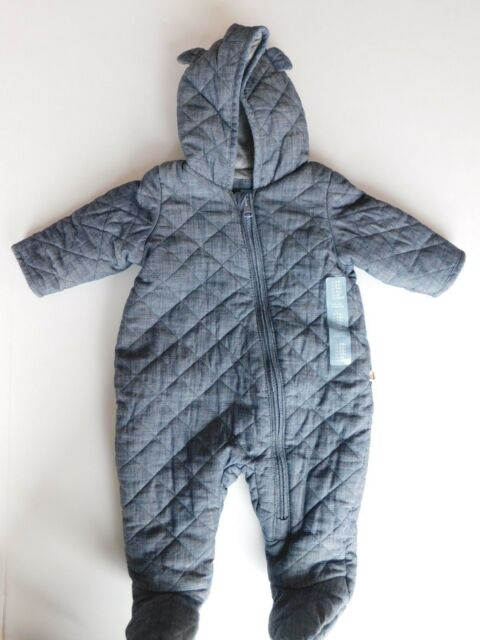Baby Gap Quilted Bear Chambray Zip One Piece Coverall Blue Size 3 6