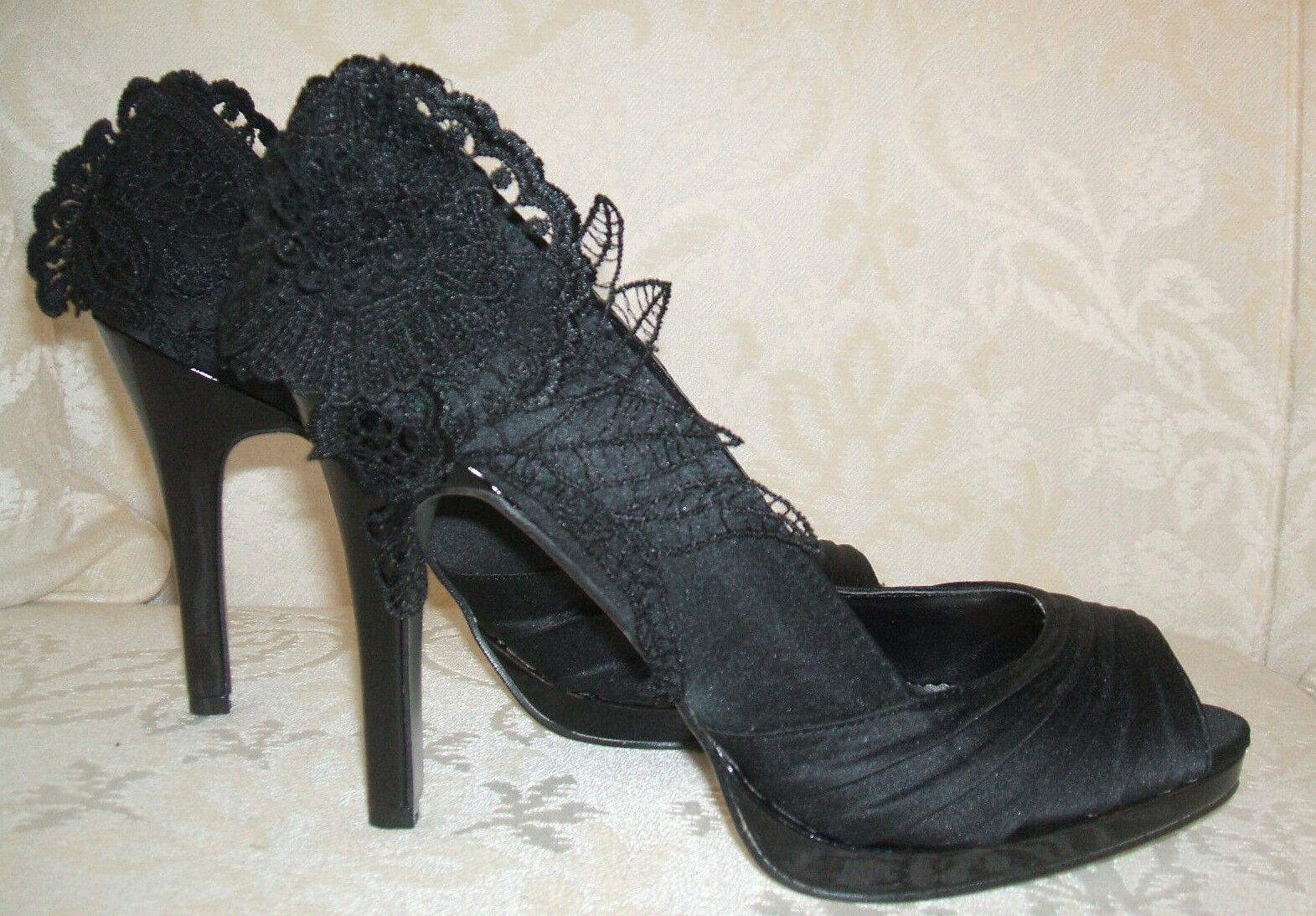 Bnwob Anne Michelle Taille 7 Noir Dentelle Satin brevet Occasion Spéciale cour chaussures