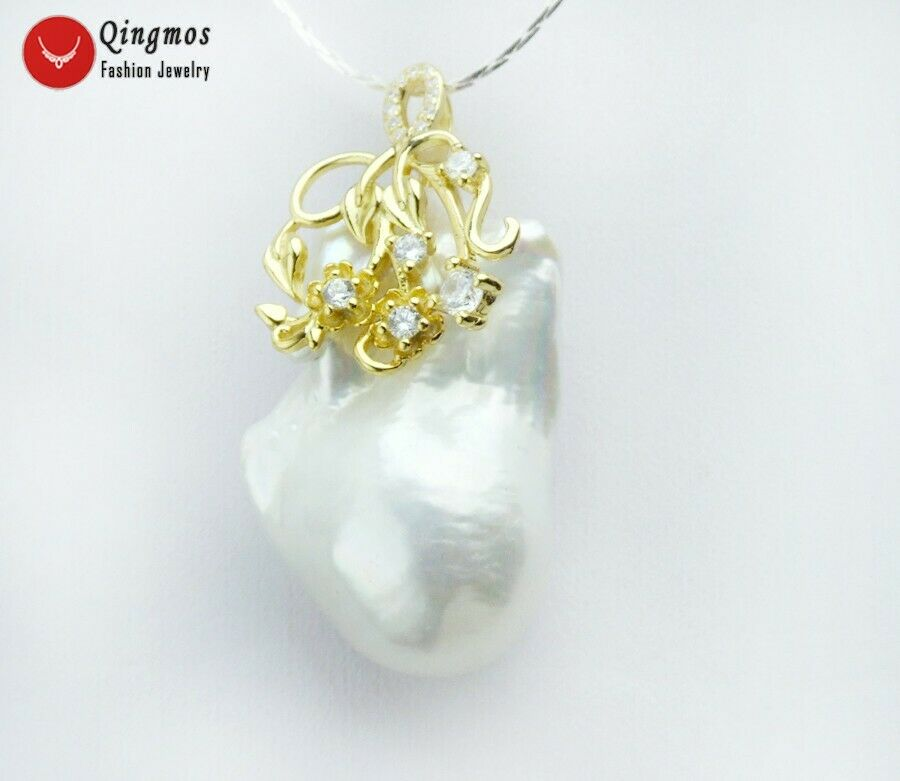 White 2035mm Baroque Natural Nuclear Pearl Pendant for Women gold-color S925