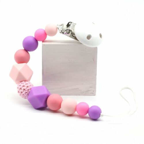10 Color Silicone Beads Baby Pacifier Clip Teether Chew Toy Teether Clip Baby