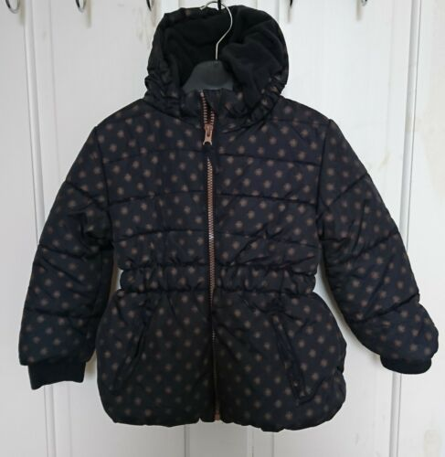 Girls Navy hooded Coat With Gold Pattern 6-7 years