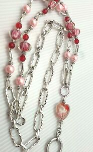 Red-Pink-Floating-Hearts-Lanyard-Silver-Beaded-ID-Badge-Holder-Breakaway-opt