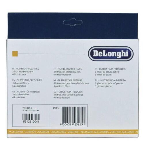 6 Filtri Carta per Friggitrice F28211 F28311 DE LONGHI Kit 3 Filtri ai Carboni