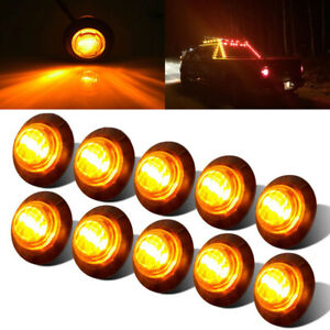 10X-3-4-034-Amber-Yellow-Small-Round-Side-Marker-lights-3LED-Button-Lamps-LorryF27