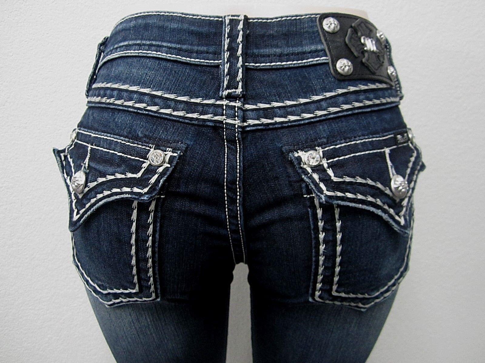 NWT Miss Me Boot Cut Cute Saddle Stitch Dark Jeans  JS5014B58V Size 28 x 32
