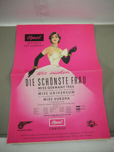Opal Strumpfwerke Miss Germany 1954 Vintage Promotional Zeitung Brochure (MF19)