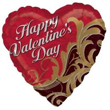 Happy VALENTINE'S Day Brown Red GOLD Damask Heart Love  Party Balloon