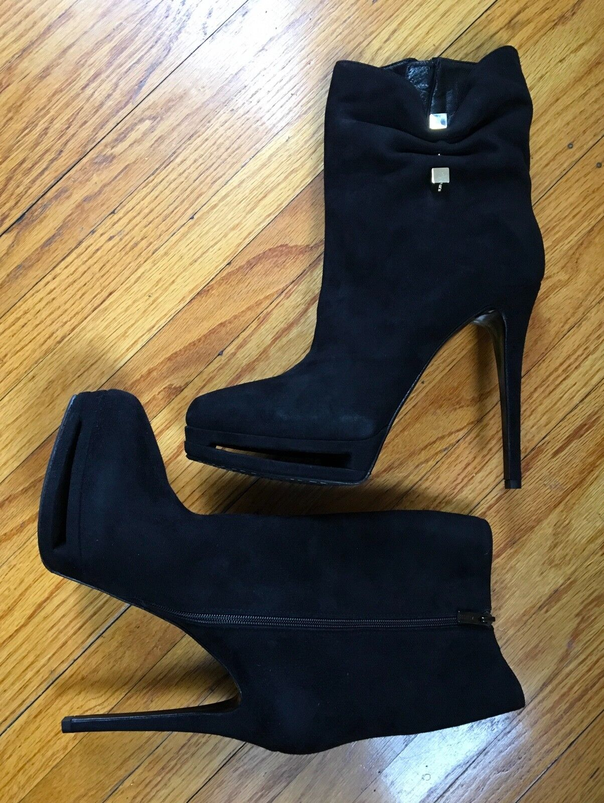 RARE SOLD OUT LE SILLA BLACK PEEP TOE PLATFORM SUEDE SUEDE SUEDE HATPIN BOOT ITALY NIB  1095 d02f0e