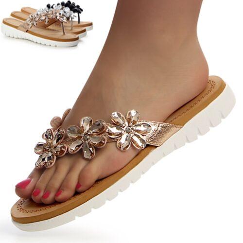 Damenschuhe Glitzer Plateau Blume Sandalen Zehentrenner Sandaletten Keilabsatz