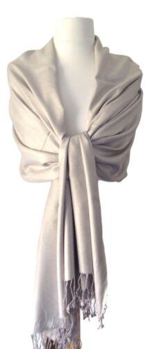 Pashmina Silver Grey Ladies Shawl Wedding Bridesmaid Wrap Large Plain Scarf