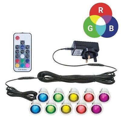 Luminosa Set Di 10 - 30mm Rgb Per Patio Ponte Plinto Luci Ip67 Led Telecomando Cambia Colore-