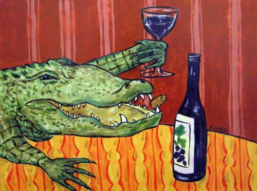 ALLIGATOR wine 8.5x11  art PRINT animals impressionism glossy gift new