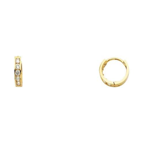 Small Round CZ Huggie Hoops Solid 14k Yellow Gold Huggies Earrings Fancy Tiny