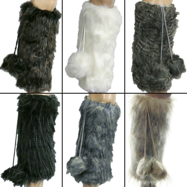 Faux Fur Leg Warmers Womens Furry Fuzzy Rave Boots Warm Pom Pom  Socks
