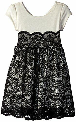 Bonnie Jean Girls/' Foil Knit-to-lace Dress