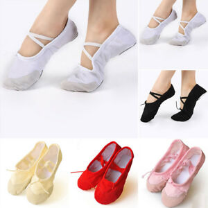Child-Adult-Ballet-Dance-Shoes-Soft-Pointe-Canvas-Slippers-Gymnastics
