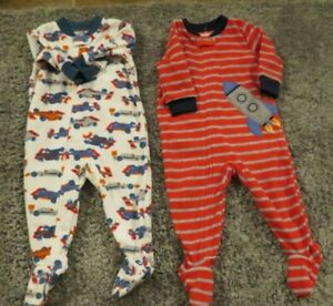 NEW-Carter-039-s-Baby-Boys-2-Piece-Lot-Footed-Fleece-Blanket-Sleepers-6-Mo-NWT