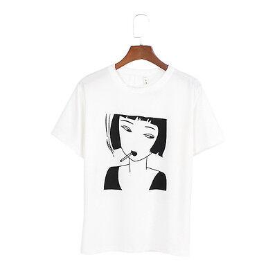 Harajuku Girl Head Printed Women T-shirt Summer Casual Short Sleeve Tee Top