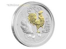 1 $ Dollar Lunar II Jahr Hahn Rooster Australien 2017 1 oz Silber gilded Gold