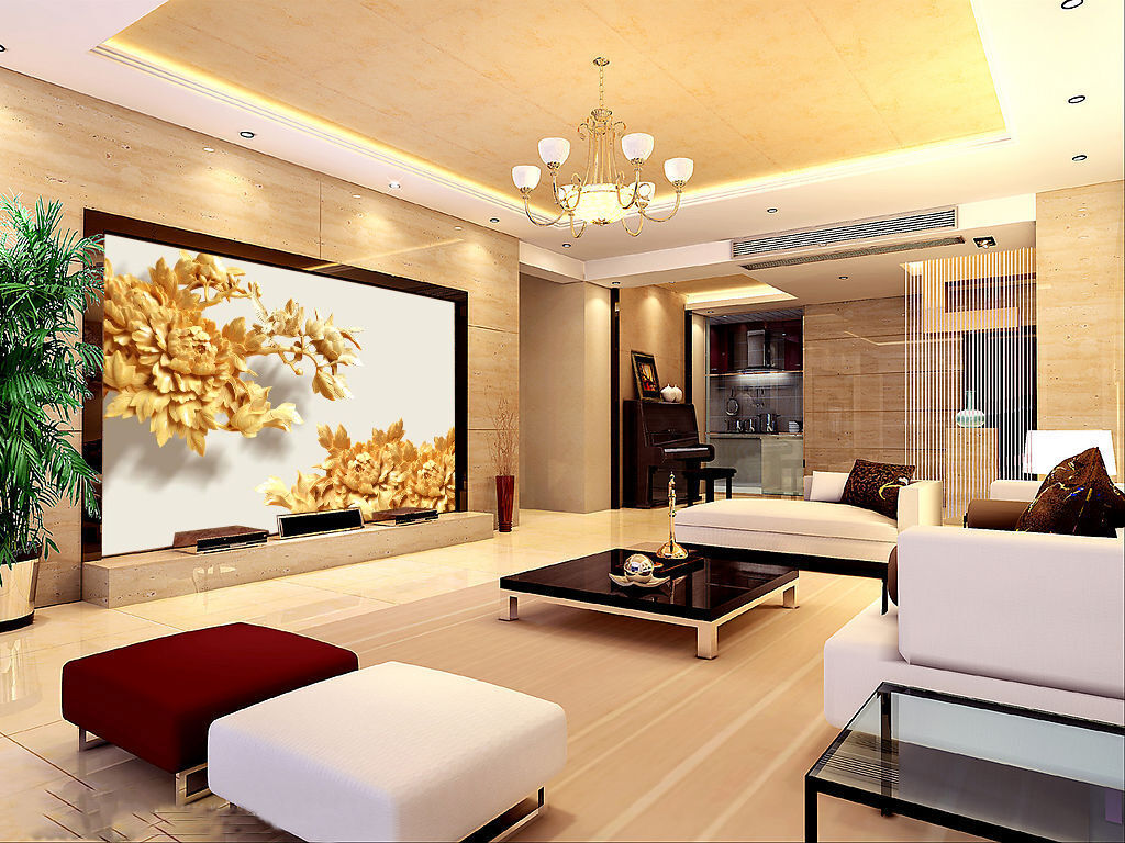3D Wood carving flowers Wall Paper wall Print Decal Wall Deco Indoor wall Mural