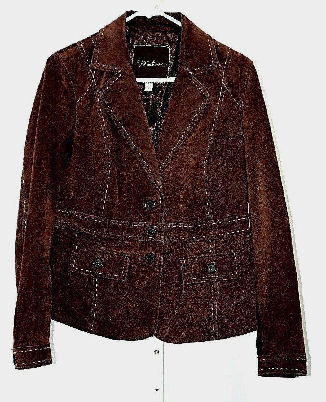 Madison kvinnor 100% bspringaa läder Coat Storlek 12 Stitched 3 Button årgång 1970 -talet