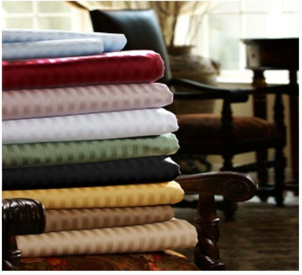 1000 TC Egyptian Cotton Home Bedding Items Olympic Queen Size Striped colors