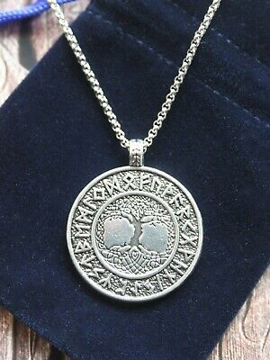Yggdrasil Tree of Life Norse Viking Celtic Pagan Pendant Cord Necklace w Pouch
